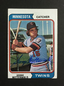 George Mitterwald Twins Signed 1974 Topps Baseball Card #249 Auto Autograph