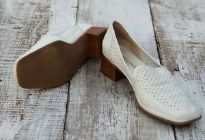 Rangoni-Firenze-Italy-Made-Women-039-s-Sz-9-5-41-Cream-White-Perforated-Shoes