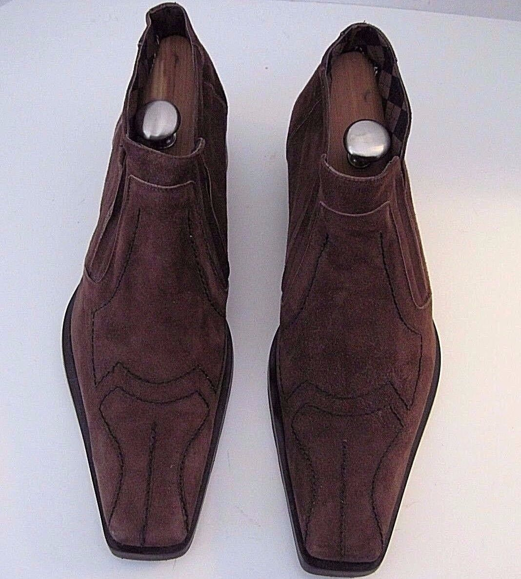 Carlo Ventura vintage Italian mens brown suede slip on shoes size 45