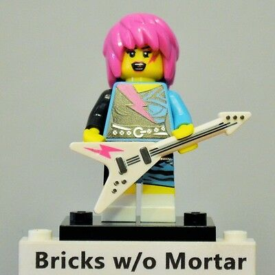 New Genuine LEGO Rocker Girl Minifig with Guitar Series 7 8831