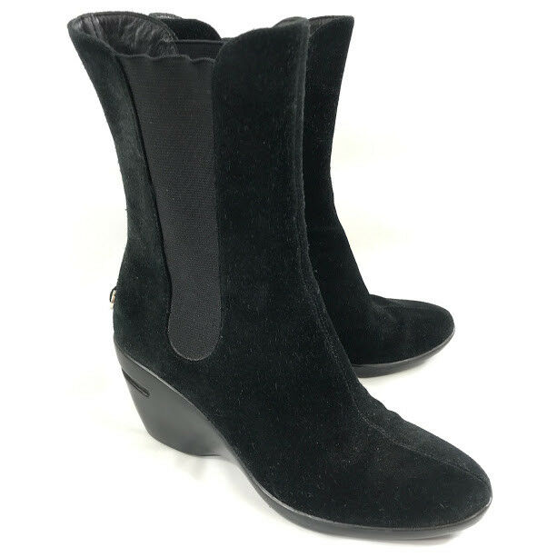 Cole Haan NikeAir Womens Boots Size 6.5 Black Suede Leather Wedge Comfort Heels
