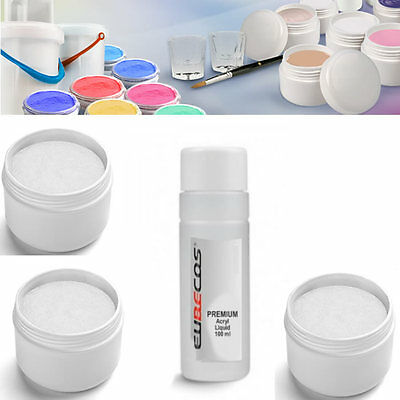Maniküre & Pediküre Liquid 100ml Intellective Acryl Puder Acrylpulver Powder Acrylset Starterset Weiss 3x30g U