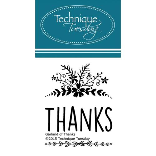 Garland Of Thanks Small Set Clear Unmounted Rubber Stamps TECHNIQUE TUESDAY New