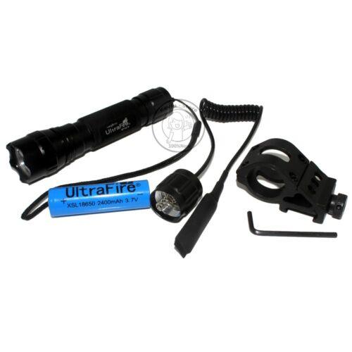 Mount UltraFire Tactical 501B 18650 CREE XM-L L2 LED 1Mode 1000LM Flashlight