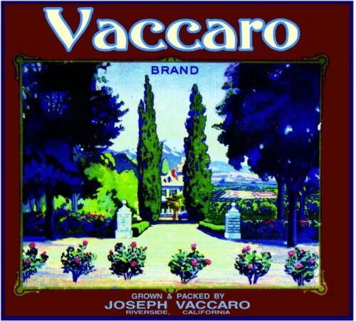 Riverside Vaccaro Scenic California Orange Citrus Fruit Crate Label Art Print