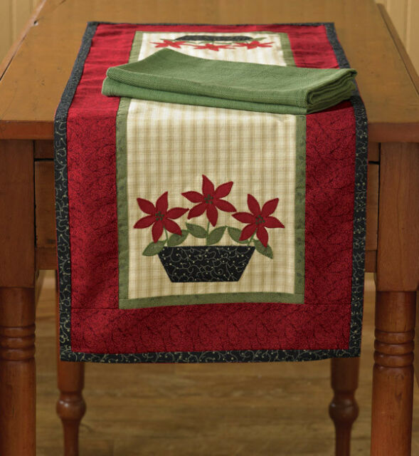 Machine Appliqued Reversible Machine Quilted Christmas Poinsettia Table Runner