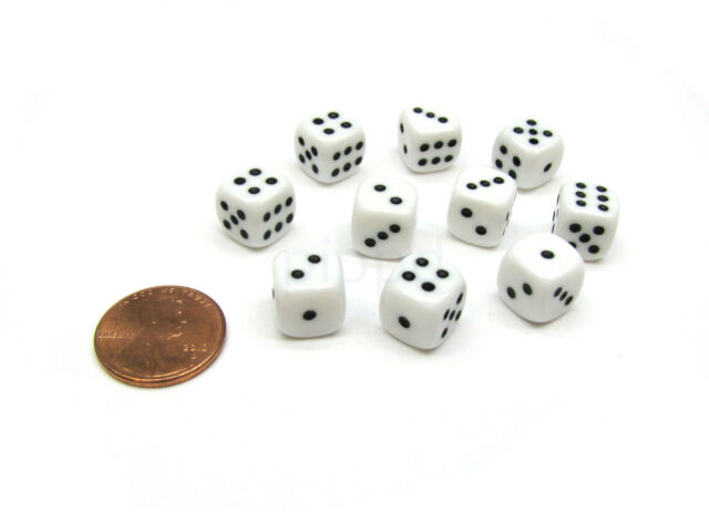 Pack of 10 Deluxe Round Edge Small 10mm Transparent D6 Dice Red
