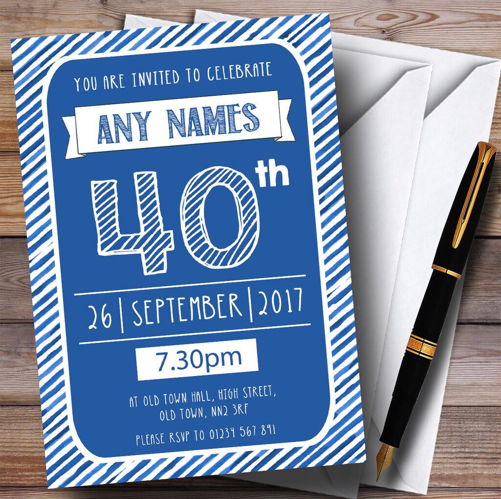 Blau & Weiß Stripy Deco 40th Personalised Birthday Party Invitations