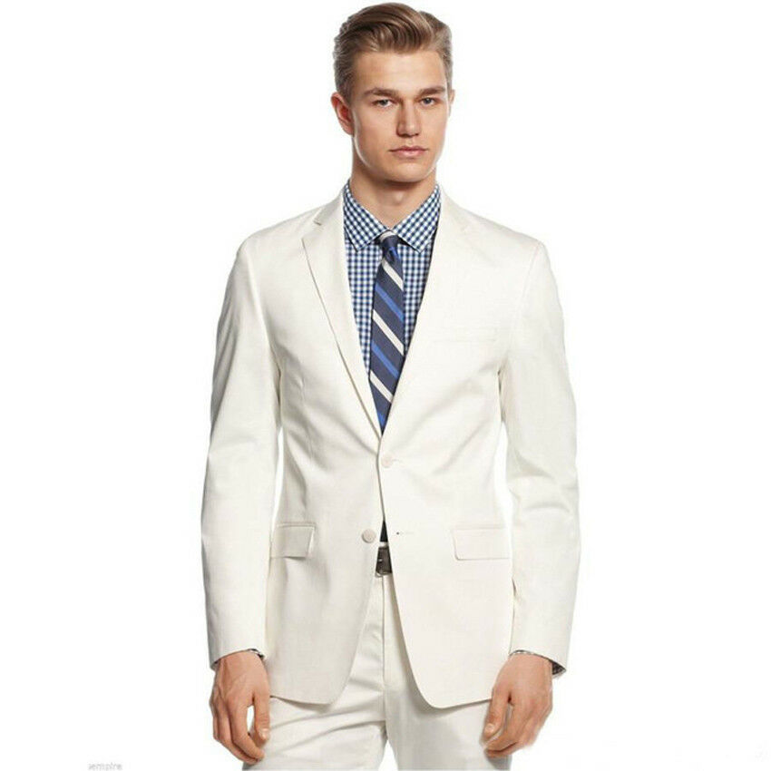 Fashion Groom Tuxedos White Men Suit Groomsman Wedding Prom Suits Groomsman Suit