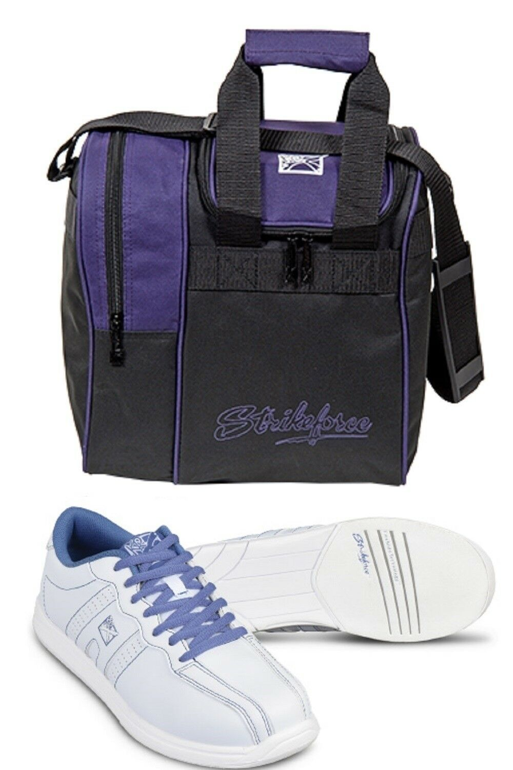 Women's KR Bowling shoes color White bluee Sizes 5-11 & Purple 1 Ball Bag