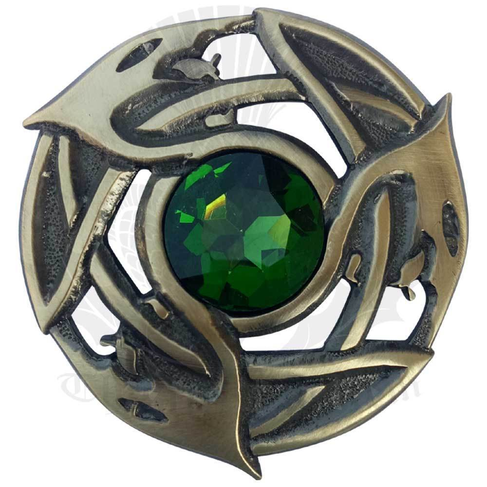 Celtic Brooch Fly Plaid Green Stone Antique Finish Scottish Pin & Brooches 3.25
