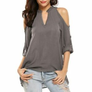 Short-Sleeve-Tops-V-Neck-Loose-Blouse-Casual-T-Shirt-Floral-Jumper-O-Neck