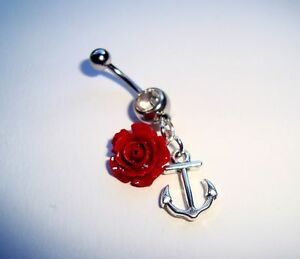 Piercing-Belly-Bar-Ring-per-Ombelico-Rosa-Ancora-Anchor