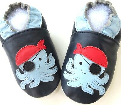 Minishoezoo dinosaur navy 24-36m soft sole leather toddler indoor shoes slippers