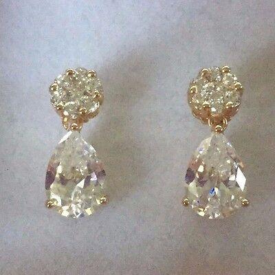 SPD White sim diamond pear drop /& stud earrings 18k gold filled BOXED Plum UK