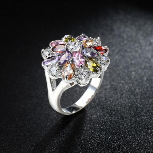 Rainbow Color CZ Fleur Bande Argent 925 pour Femme Fiançailles Bijoux Anneau Taille 6-10