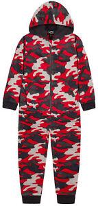 Boys 1Onesie1 Jumpsuit Pyjama New Camo Micro Fleece All In One Ages 7-13 Years