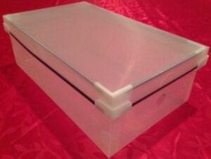 top lid clear plastic shoe box closet organizer container storage woman shoes ebay. Black Bedroom Furniture Sets. Home Design Ideas