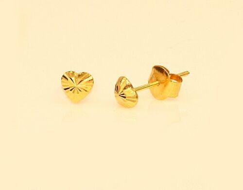 7 5 4 mm   #110 18k gold heart shape earring diamond cut 8