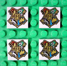 4 pc LEGO Harry Potter HOGWARTS Coat of Arms 2X2 Gray TILE Square SHIELD Set LOT