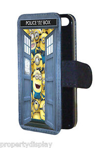 Minions-inside-Dr-Who-Tardis-Funny-Design-Flip-Wallet-Mobile-Phone-Case-Cover