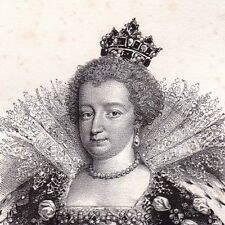 Portrait XIXe  Marie de Médicis Maria de' Medici Firenze Italie Reine de France