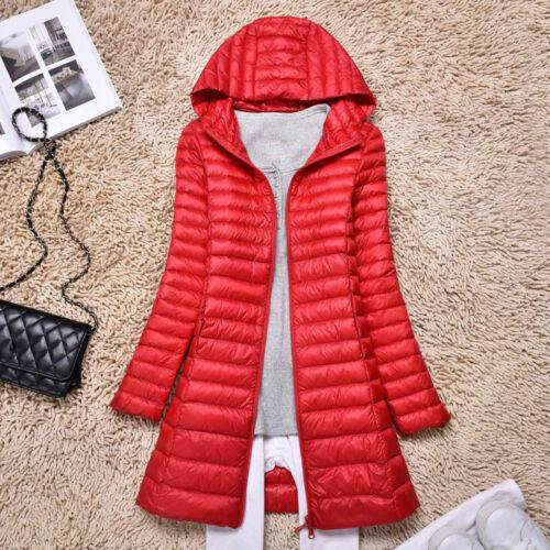 Women/'s Long Duck Down Coat Ultralight Jacket Hooded Overcoat Outerwear Puffer