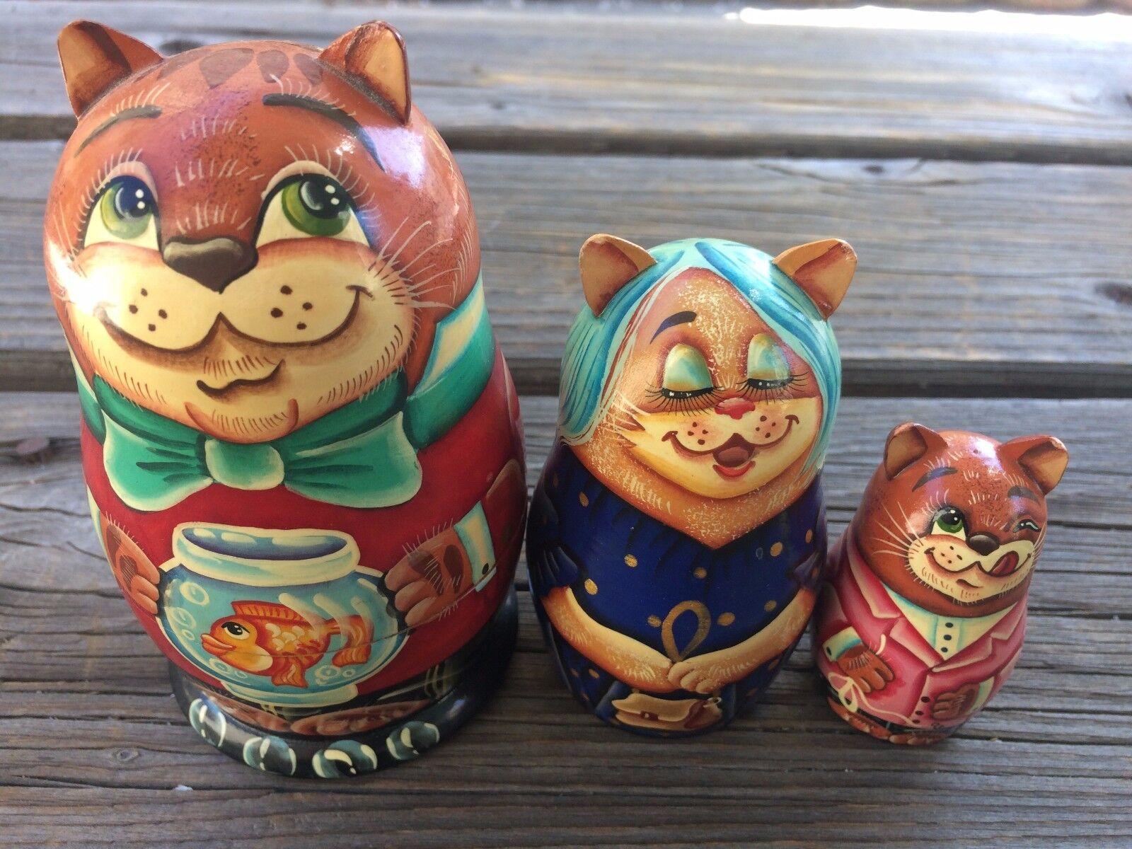 Russian matryoshka bambola nesting baautoautobushka  Cats Family hefatto OOAK SIGNED ARTIST  100% nuovo di zecca con qualità originale