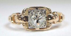Art-Deco-Antique-Vintage-Engagement-14K-18K-Yellow-Gold-Size-5-75-UK-L-EGL-USA