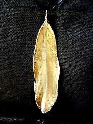 Echte Feder in 24 Karat veredelt, Unikat, Lederkette mit Goldfeder, gold, neu