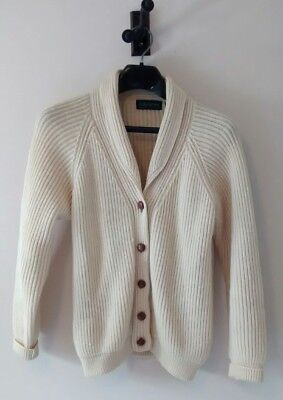Vintage Wool Grandpa Cardigan Sweater Made in England Leather Buttons M