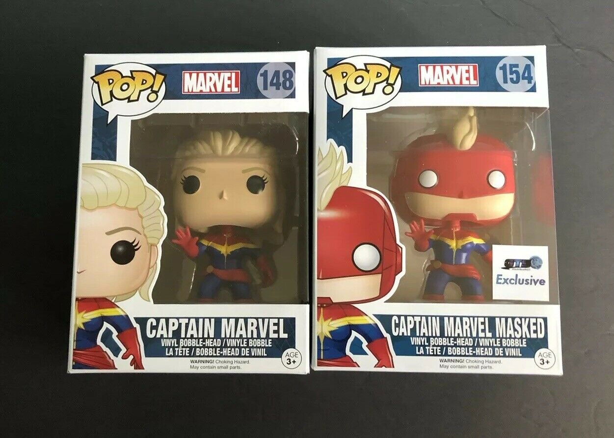 new funko pop! captain marvel masked #154 gts exclusive and unmasked 148
