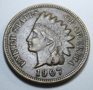 1907-XF-US-Indian-Head-Penny-1-Cent-Old-Antique-U-S-Currency-Money-Coin-USA