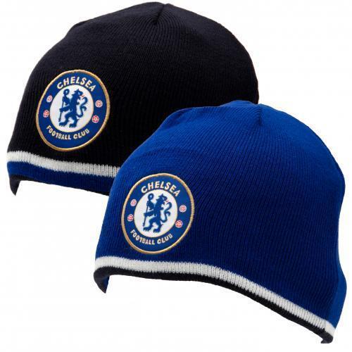 1dd11ea7647 Chelsea FC Reversible Knitted Beanie Hat Cap 2 in 1 - Black or Blue ...