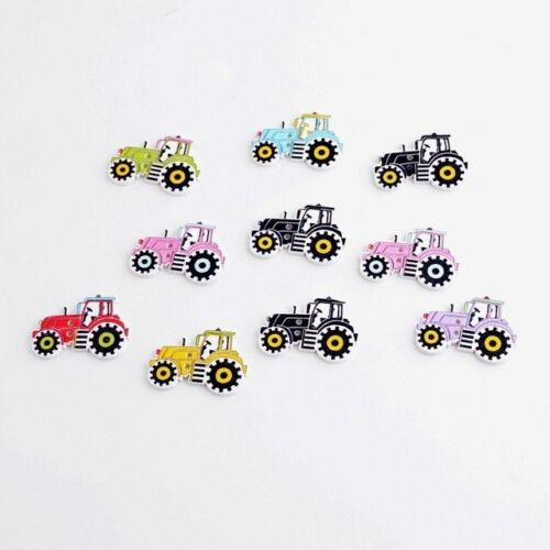 50 Wooden button TRACTOR CAR Decor Sewing Craft Cardmaking Ornaments Kids