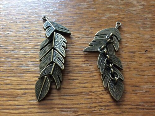 Feather bronze plated movable pendants or earrings  x 2 app 60mm x 18mm