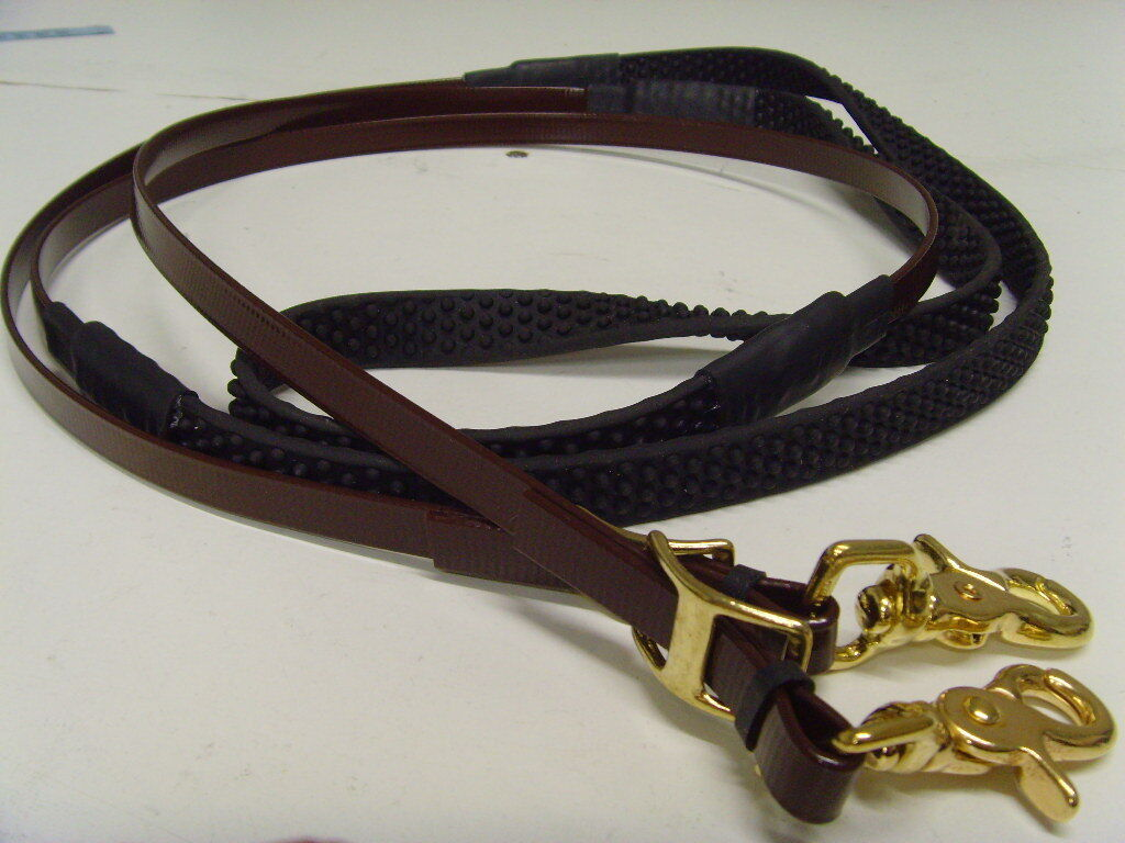 Gloss Brown Rubber Grip Biothane reins - Pony Size 52  long