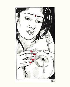 Original Pen Sketch Comics Art Naked Sensual Female Asian Woman Wife Drawing 01