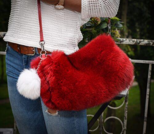 Genuine Red Fox Fur Luxury Glamour Handmade Ladies Handbag Bag Purse Pom Pom