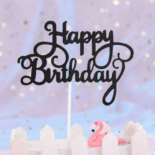 10PCS HAPPY BIRTHDAY Cake Toppers Baby Shower Birthday Party Glitter Cake Topper