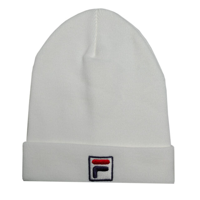 FILA Mens Beanie Logo Hat in White - One Size for sale online  81055b69153