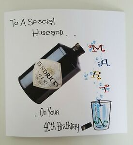 Image Is Loading Personalised 40th Birthday Card Gin Husband Dad Brother
