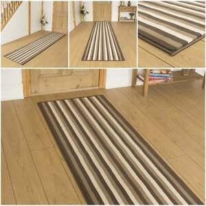 breit 2 braun creme streifen l ufer teppich flur teppich halle extra lang ebay. Black Bedroom Furniture Sets. Home Design Ideas