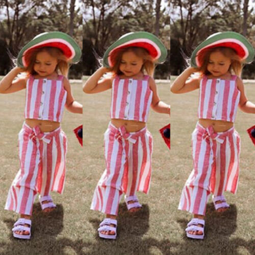 UK Toddler Kids Baby Girls Stripes Crop Top Long Pants Clothes Outfits Summer