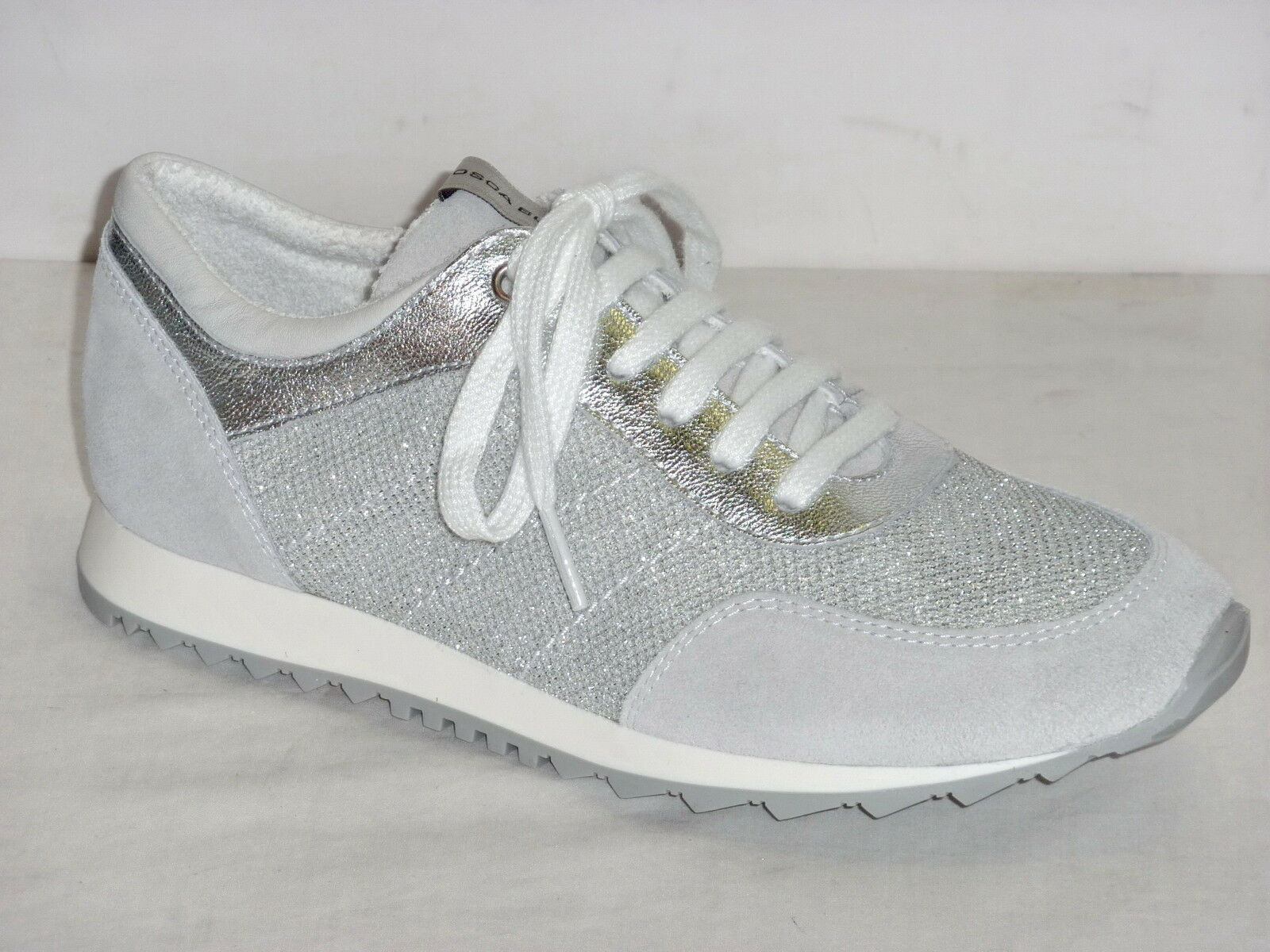 TOSCA blue shoes TENNIS SNEAKERS women PELLE NABUK GHIACCIO TESSUTO silver n.41