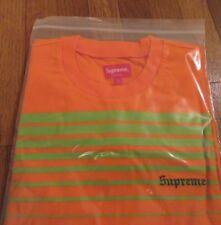 Supreme Fade Stripe L/s Long Sleeve Top Size Large Orange Fw18 Fw18kn74 2018