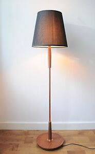 Vintage wood and copper floor lamp for Used wood floor lamp