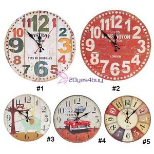 Large Vintage Rustic Silent Number Wall Clock Antique Chic Retro ...