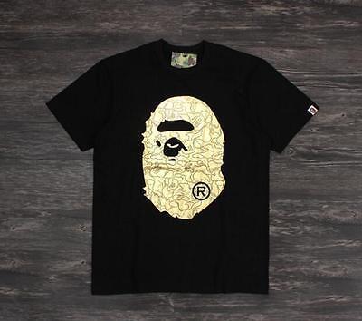 Men s Bape Shiny Golden ape Monkey head Pattern Japan A bathing ape Tee  Shirt 7e0806edf0f5