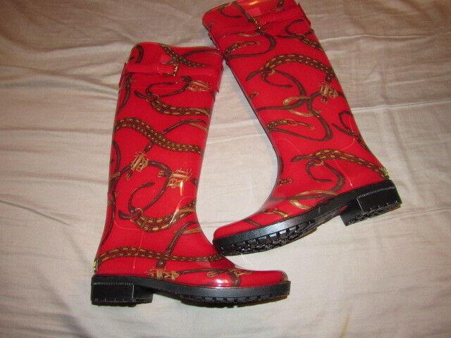 NWOB New Polo Ralph Lauren Women's Rossalyn II Rain Boots Water Red LRN  size 5